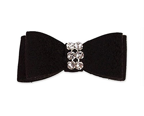 """Ultrasuede Giltmore Hair Bow w/ Swarovski Crystals for Dogs by Susan Lanci Designs (XS (1-1/2""""), Black)"""