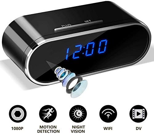 Hidden Spy Camera Clock, Wireless HD 1080P WiFi Camera with Night Vision Wide Angle Motion Detection for Home Security