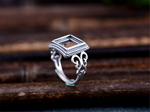 (Ring Blank (10x10mm Square Blank) Adjustable Thai Sterling Silver Square Cabochon Ring Setting R396B)