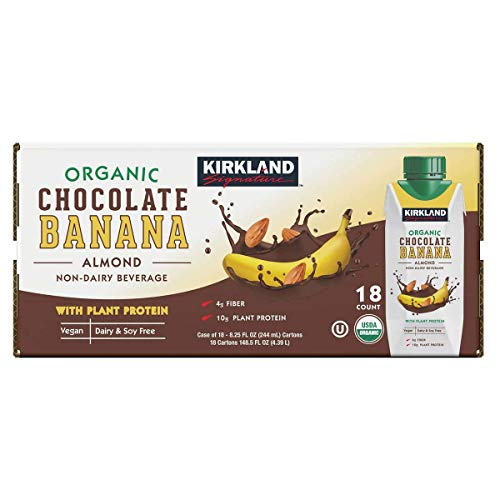 Kirkland Signature Organic Vegan Chocolate Banana Plant Protein Non-Dairy Almond Milk Beverage - 18 Count (8.25 fl oz.)