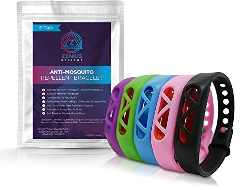Zenius Designs 5 Pack Mosquito Repellent Bracelet, Natural Plant Based, Insect Repellent Bracelets, Waterproof for Kids and Adults by Zenius Designs