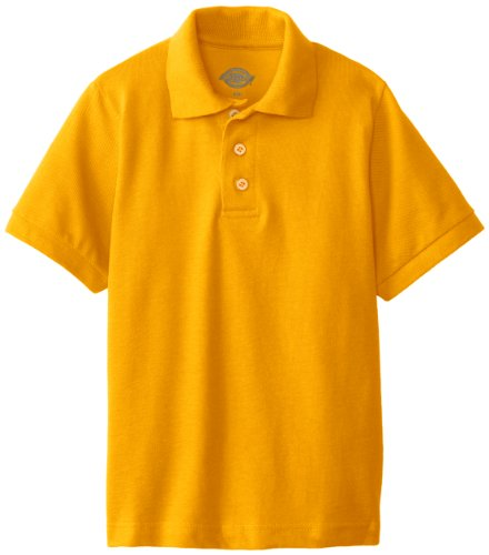 Dickies Big Boys' Short Sleeve Pique Polo Shirt, Gold, ()