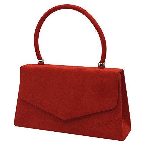 Girls Bags Faux Red Clutch Handbags Handheld Women Evening Leather Wocharm Suede Ladies fwOqwC