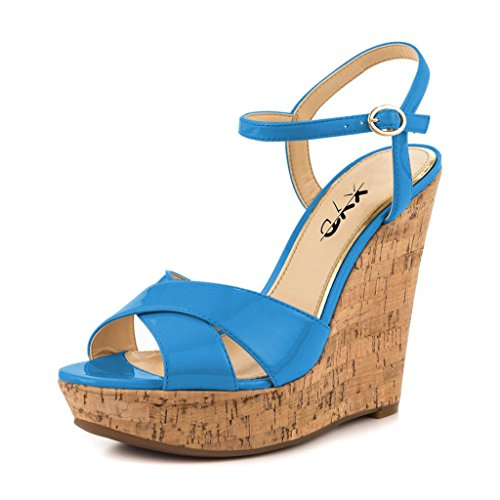 XYD Comfort Platform Cork Wedges Slingback Shoes Peep Toe Sandals Ankle Strap High Heels for Women Size 10 Blue