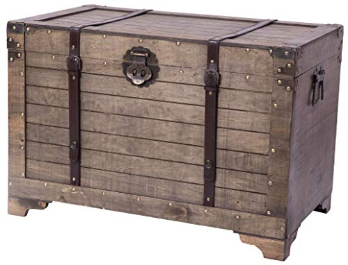 Vintiquewise QI003414L Old Fashioned Large Natural Wood Storage Trunk Coffee Table, Brown