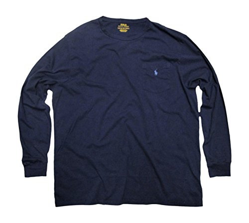 Polo Ralph Lauren Men's Big & Tall Crew Neck T-Shirt Long Sleeve (Newport Navy, 4XLT)