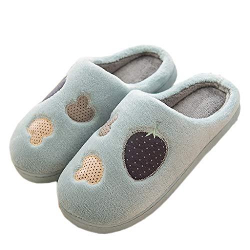 Baumwolle AMINSHAP Blau Schuhe Schwere 44EU Männer Hausschuhe Monat Plüsch Paar Hausschuhe Süße Blau 43 Farbe größe Home Home Boden Warme Rutschfeste CFw5Fx