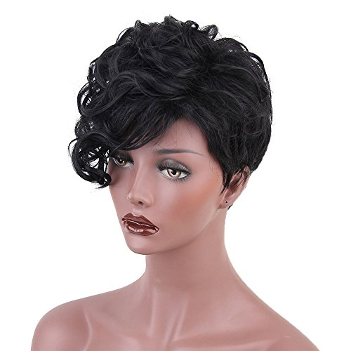 50s Wigs for Women, Women Short Black Front Curly Hairstyle Synthetic Hair Wigs For Black Women