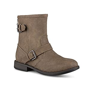 Twisted Women's Amira Short Buckle Strap Riding Boot - AMIRA68 Mocha, Size 10