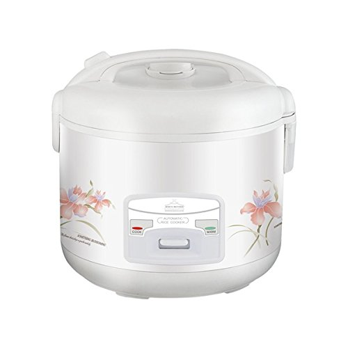 Wee Deluxe White 10-cup Electric Rice Cooker, Automatically switches from cook to warm