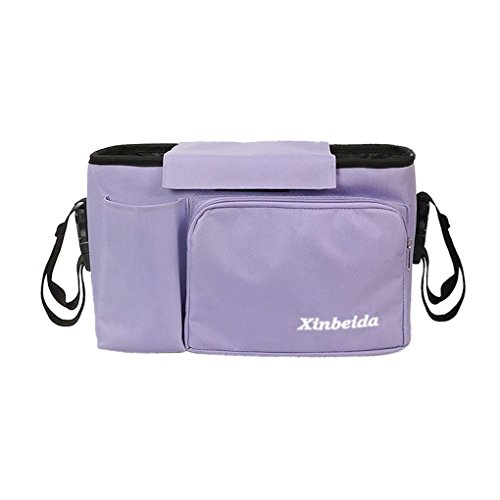 Portable Baby Diaper Bag All in One Stroller Hang Bag Baby Carrier Bag Multi-function Mummy Bag Essentials Organizer Travel Shoulder Bag Handbag, Purple
