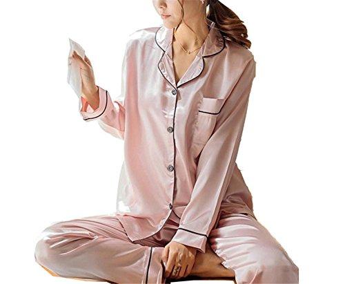 JIANGTAOLANG Fashion Korean Style Imitation Women Pajamas Set Soft Sleepwear Smooth Long Sleeve Homewear 2 M
