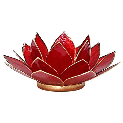 FindSomethingDifferent Lotus Tea Candle Light Holder Capiz Shell Red 1st Chakra