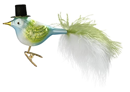 Inge Glas Bird Clip-On Top Hat Feathers 1-032-15 German Glass Christmas Ornament - Feather Christmas Top Hat