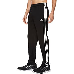 adidas Men's Athletics Essential Cotton 3 Stripe Tapered Pants, Black/White, Large