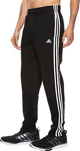adidas Mens Athletics Essential Cotton 3 Stripe Tapered Pants, Black/White, Large