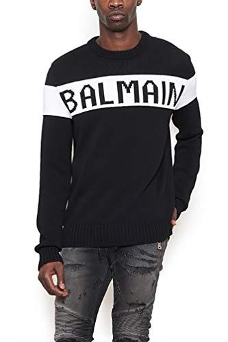 W8h6676m366181 Man Blanc En Coton Pull Balmain Et Noir fg5zdqxg