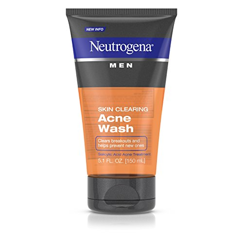 Neutrogena Men Skin Clearing Daily Acne Face Wash with Salicylic Acid Acne Treatment, Non-Comedogenic Facial Cleanser to Treat & Prevent Breakouts, 5.1 fl. oz (Pack of 2) ()