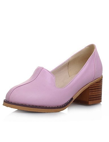 ZQ Zapatos de mujer - Tacón Robusto - Tacones / Punta Redonda - Tacones / Mocasines - Casual - Semicuero - Negro / Rosa / Morado / Blanco , black-us8 / eu39 / uk6 / cn39 , black-us8 / eu39 / uk6 / cn3 purple-us9 / eu40 / uk7 / cn41