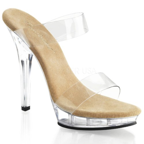 FABULICIOUS Womens Shoes Two Band Slide Platform High Heels LIP-102-1 Clear-7
