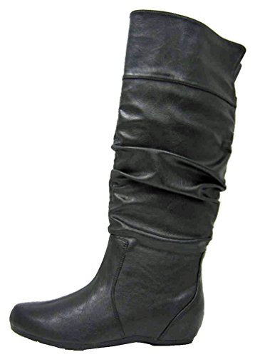 Soda Womens Tail Classic Soft Slouchy Flat To Low Heel Knee High Boots,Black,6 (Flat Soda compare prices)