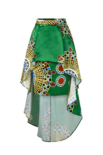 19a7674e294fb2 Liyuandian Womens African Print High Waisted Skirts Dashiki High Low  Asymmetrical Long Maxi Skirt African