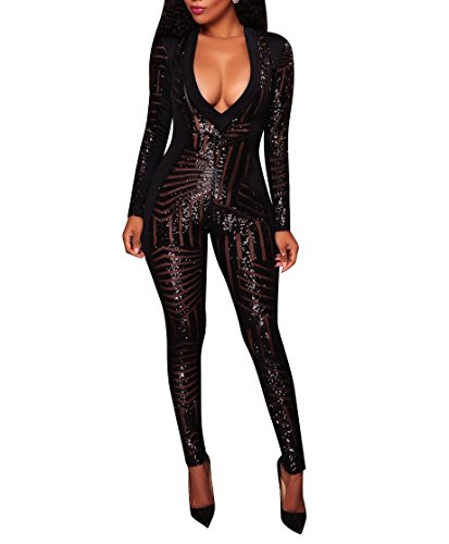 M.Brock Women Long Sleeve Bandage Bodycon Jumpsuit Tattoo Print Bodysuit (Small, S-Black) by M.Brock