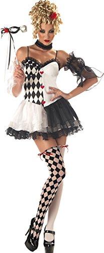 California Costumes Women's Le Belle Harlequin Costume, Black/White, Large