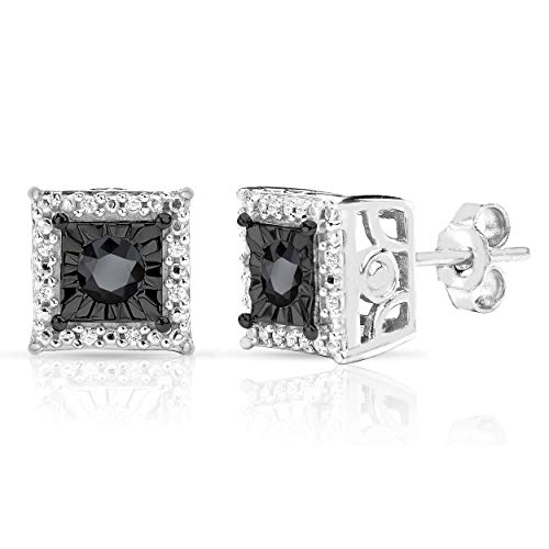 Sterling Silver Best Selling Halo Diamond Earrings 1/4ctw Pair or 1/8ctw Single Princess or Round (1/4ctw Pair Black Princess)