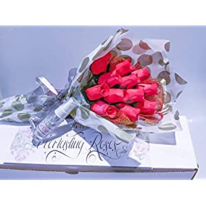 Red Roses Bouquet One Dozen Artificial Scented Wood Flowers With Refresher Spray In A Box 64