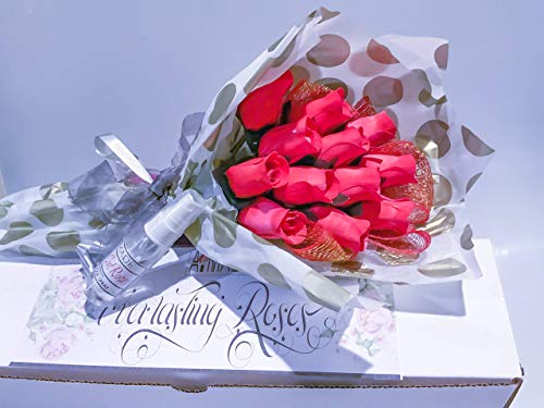 Red Roses Bouquet One Dozen Artificial Scented Wood Flowers With Refresher Spray In A Box
