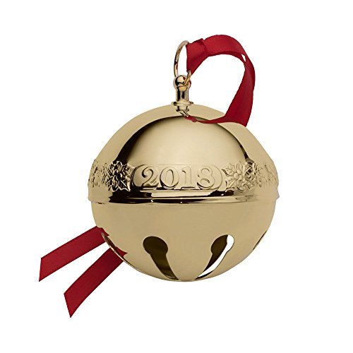 Bell Holiday Ornament - Wallace 2018 Sleigh Bell Plated Christmas Holiday Ornament, 29th Edition, Gold