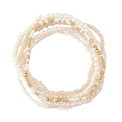(Bops Colorful, Multi-Layer Stretch Bracelet Set (6pc) for Women and Girls (White))