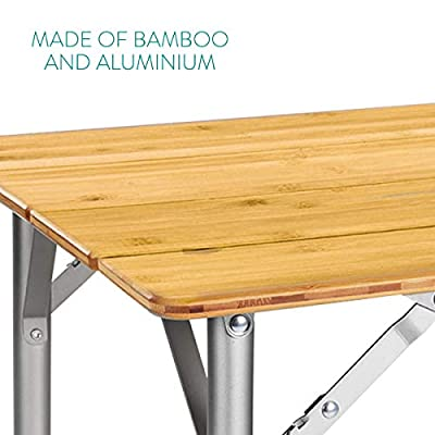 Navaris Bambus Campingtisch faltbar - Klapptisch belastbar bis 30kg für Outdoor Camping Angeln - Tisch Aluminium Beine…