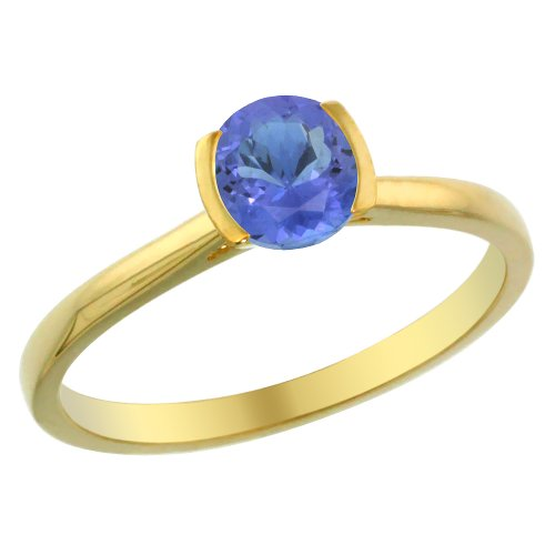 14K Yellow Gold Natural Tanzanite Solitaire Ring Round 5mm, size 6 14k Yellow Gold Tanzanite Ring