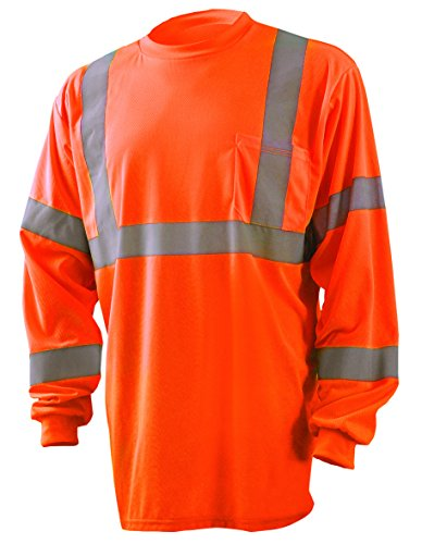 Occunomix LUX-LSETP3B-OXL Long Sleeve Wicking Birdseye High Visibility T-Shirt, Class 3, X-Large, Orange by OccuNomix