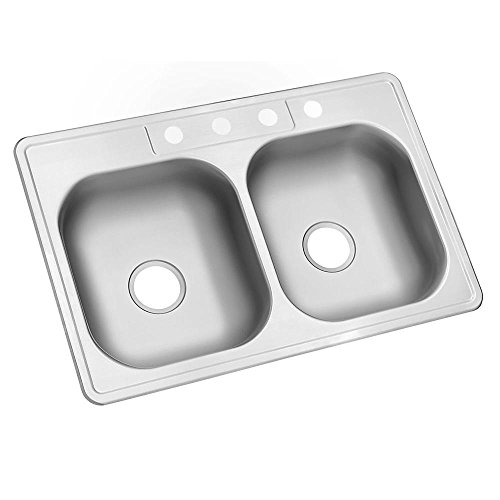 Glacier Bay Top Mount Stainless Steel 33 In 4 Hole Thick