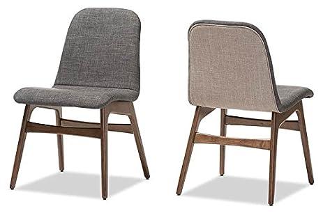 Baxton Studio 2 Piece Embrace Scandinavian Style Fabric Upholstered Walnut  Dining Chair Set, Dark Gray