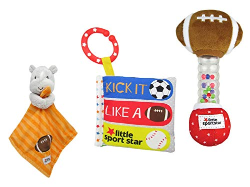 KP Kids Preferred Ultimate Baby Gift Set, Little Sport Star On The Go Plush Developmental Rattle 16.25, Soft Book, and Matching Blankie 12 Gift Bundle Set -