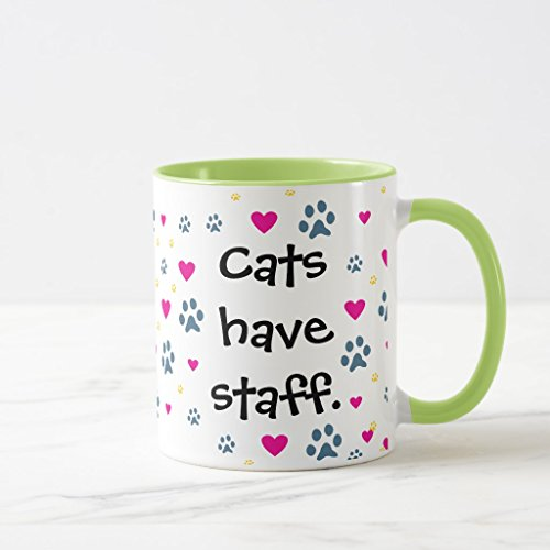 Zazzle Dogs Have Owners-cats Have Staff Mug, Lime Combo Mug 11 oz