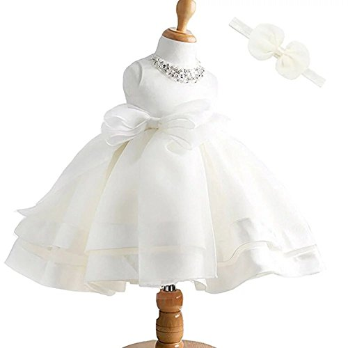 Price comparison product image ZAH Baby Girl Dress Christening Baptism Gowns Sequined Formal Dress(8022/White,0-3M)