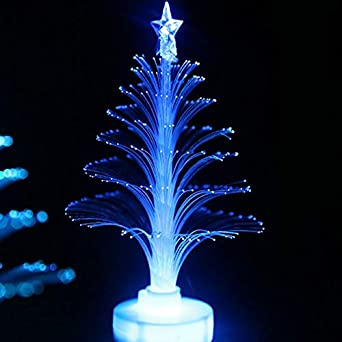 Wingbind Table Top Fiber Optic Tree 1 Pcs Colorful Mini Lighted Christmas Tree Ornament Outdoor Indoor Valentine S Day Party Festival Wedding Home