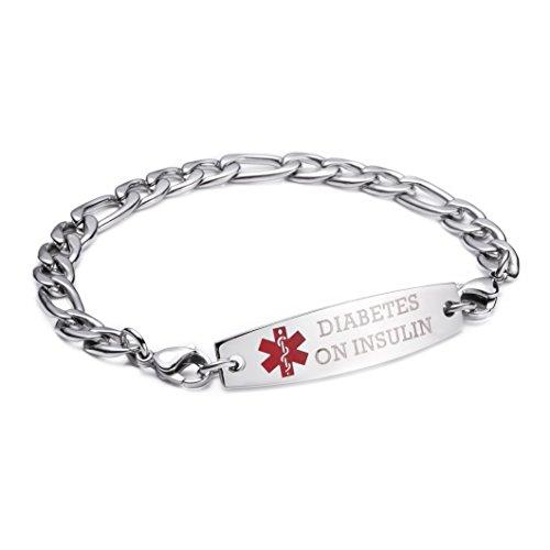 Childrens Medical Bracelets - linnalove-Stainless Steel Figaro Chain lnterchangeable Medical Alert Bracelets-Pre-Engraving(Diabetes ON Insulin/7.5