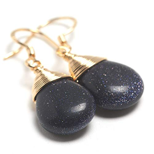 Blue Goldstone Sterling Silver Pendant - Natural Stone Wire Wrap Dangle Drop Earrings Gold Plated 925 Sterling Silver Hook/Blue Goldstone Water Drop
