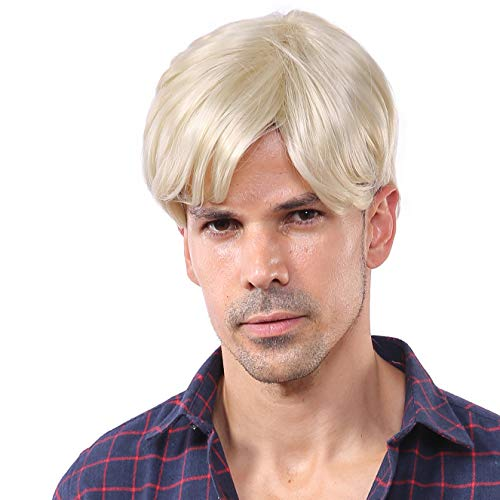 Blonde Short Wigs for Men Halloween Wig Trump Wig Man Male Blonde Wig -