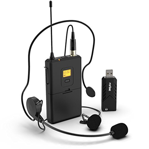 Wireless Microphones for Computer,FIFINE USB Wireless Microphone System for PC and Mac,Headset UHF Wireless System with USB Receiver,Transmitter,Headset and Clip Lavalier Lapel Mic-K031B