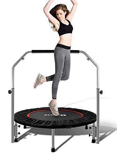 BSPORTY Foldable Mini Trampoline,Exercise Rebounder for Kids Adults Indoor/Garden Fitness-Adjustable Foam Handle Workout Trampoline Max Load 330 lbs