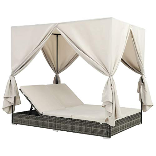 Festnight 2-Person Outdoor Sunlounger with Sun Shade Canopy and Curtains Poly Rattan Sunbed Chaise Lounger Patio Day Bed Garden Backyard Poolside Balcony 77.6