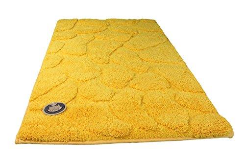 Gözze Badteppich, Mikrofaser Hochflorteppich, 70 x 120 cm, Steine, Sonnengelb, 1032-13-070120
