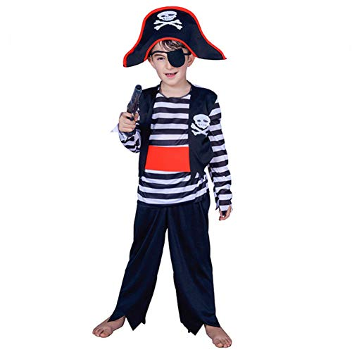 Spring Stripe Pirate Halloween Carnival Stage Performance Cosplay Party Costume Boy Set (7-9) Blue -